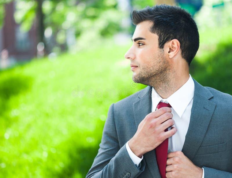 调整生意人他的领带 免版税图库摄影