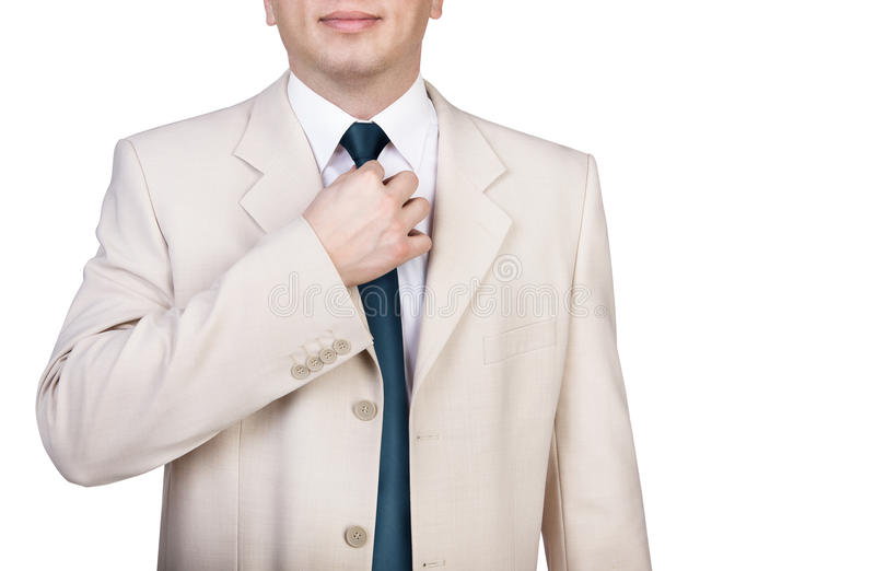 调整他的领带的商人 库存图片
