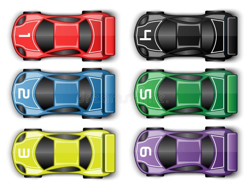 调整色的跑车赛跑的赛车 库存例证