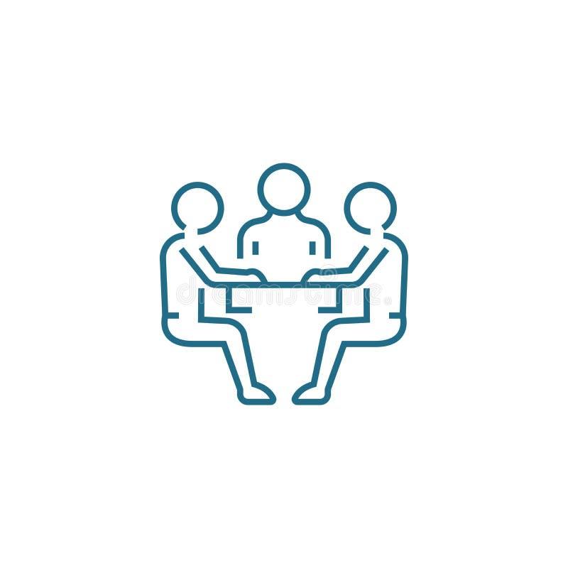 谈判桌线性象概念 谈判桌排行传染媒介标志,标志,例证 库存例证