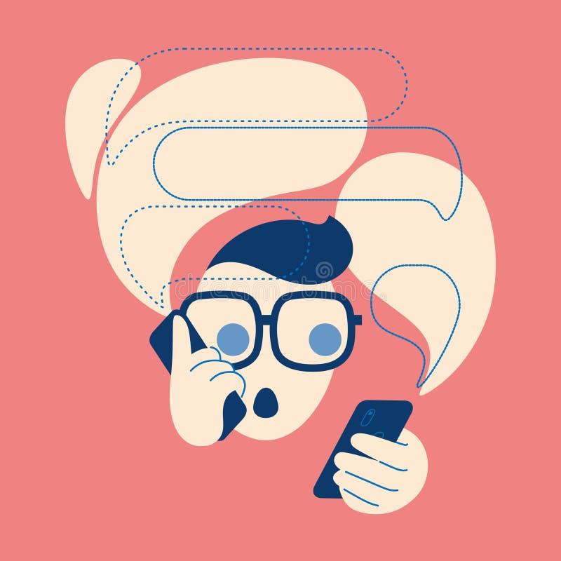 谈在电话有的一个人象泡影 消息,电话,emoji,stiker例证概念 向量例证