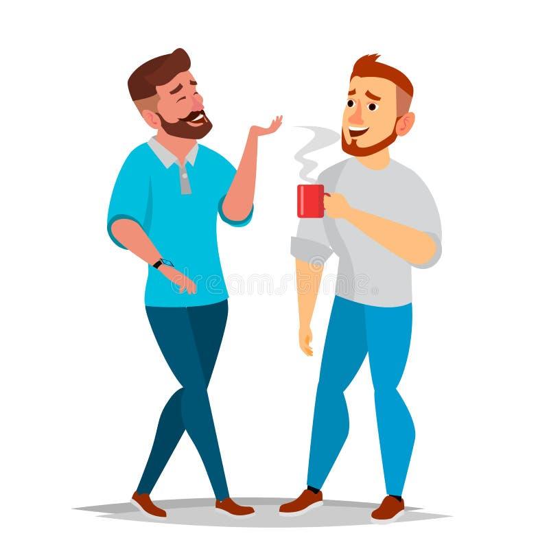 谈的人传染媒介 笑的朋友,办公室同事 沟通的男性 企业生意人幸福人员纵向 情形 被隔绝的舱内甲板 库存例证