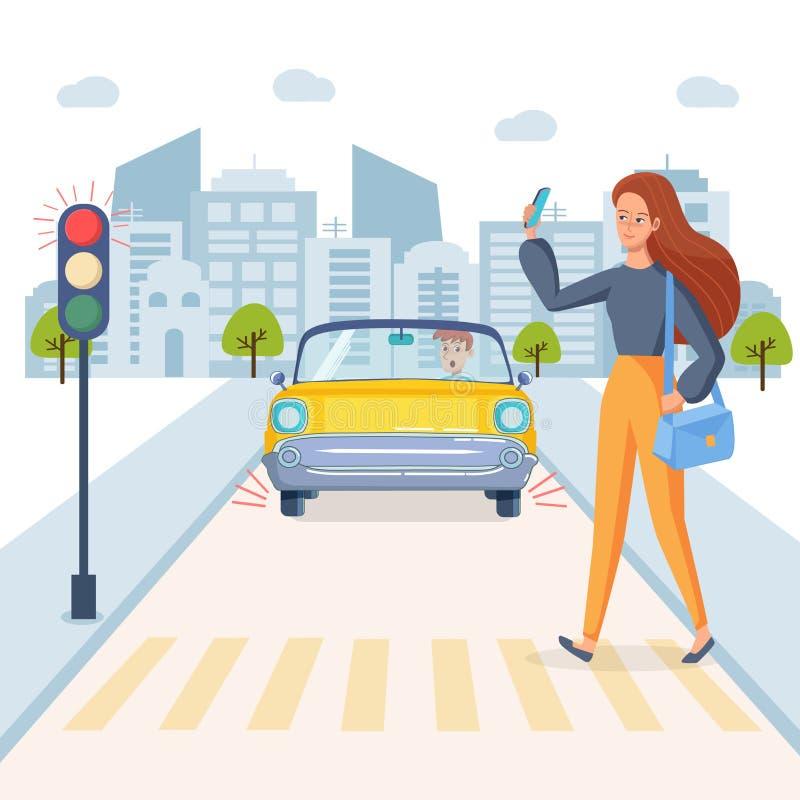 谈的女孩电话和穿过路 有在的红灯红灯 汽车的害怕的司机在路 皇族释放例证
