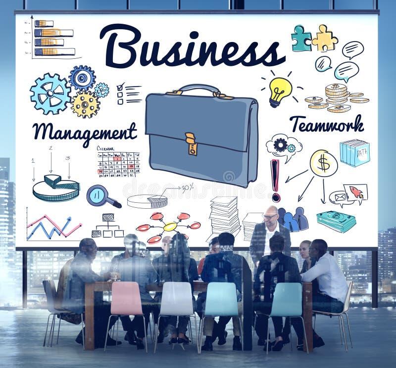谈论业务管理配合的整体规划概念 免版税库存图片