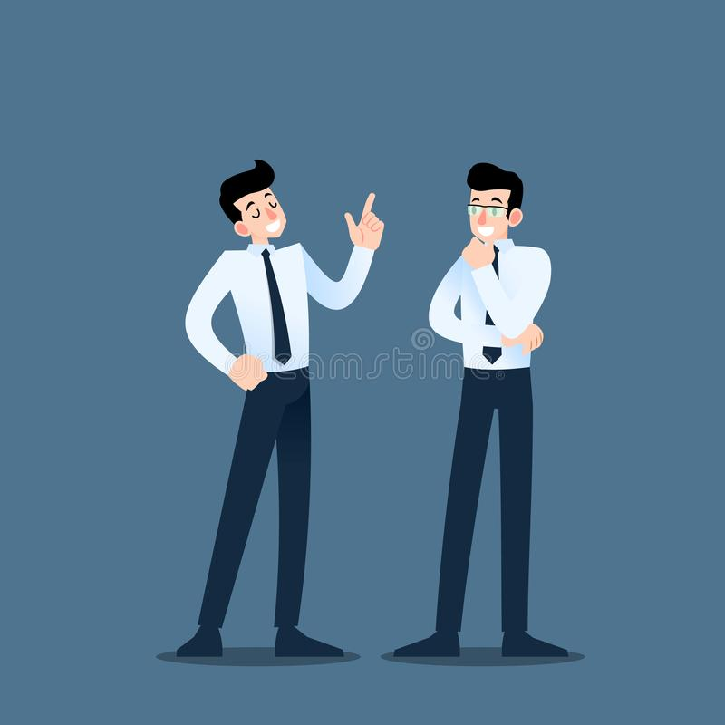 谈论两个的商人 与队的雇员谈话关于企业想法或关于商业组织 皇族释放例证