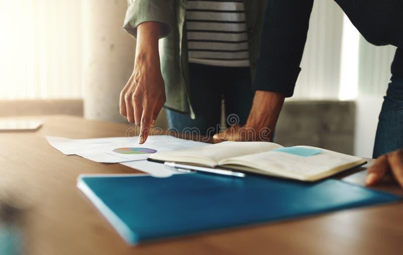 谈论两企业的同事财政图 免版税库存图片