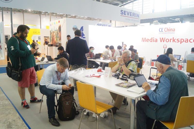 谈论休息地方的深圳大会和会展中心  免版税库存照片