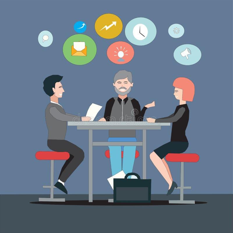 谈论小组的企业家销售和收支战略一个新的项目的 库存例证