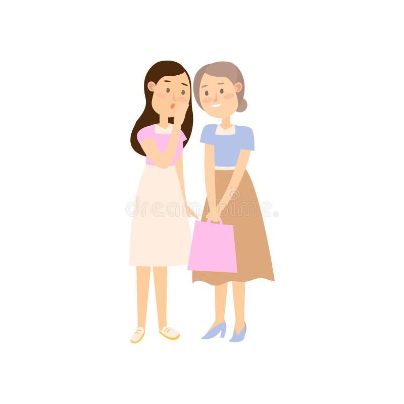 谈论普遍的新闻的夏天衣裳的两个女朋友 库存例证