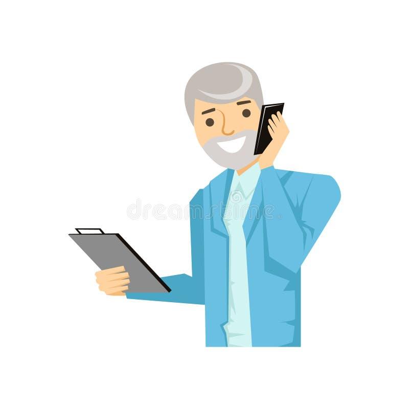 谈论的商人在智能手机,一部分的工作的人发表演讲关于手机系列 库存例证