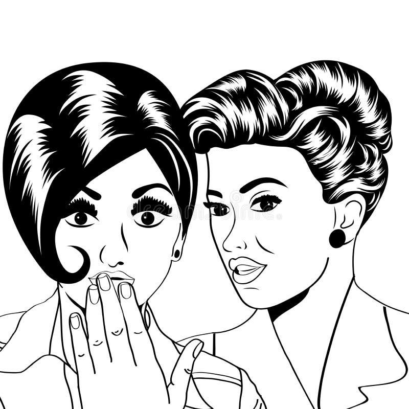 谈话两个年轻的女朋友,可笑的艺术例证 库存例证