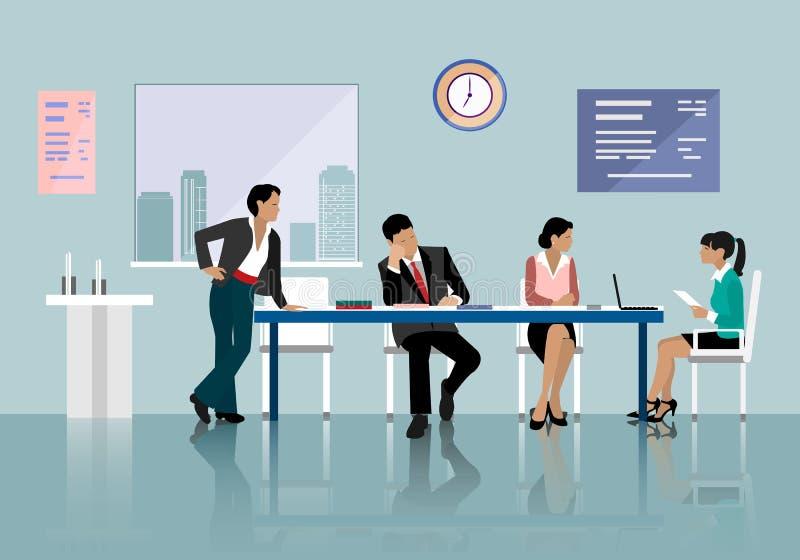 谈话和工作在办公室的人们 在桌附近的职员与膝上型计算机片剂一起使用 办公室会议室 向量例证