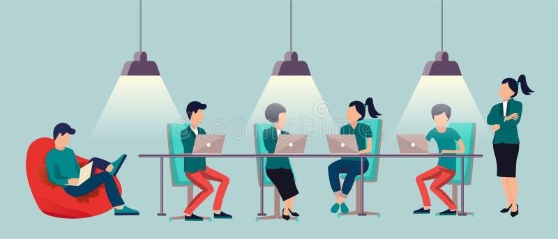 谈话和工作在计算机的人们在露天场所办公室 共同工作的中心中心 多文化小组 向量例证