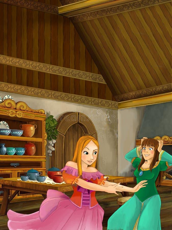 谈话和笑在厨房里的两个穿着体面的女孩动画片场面  向量例证