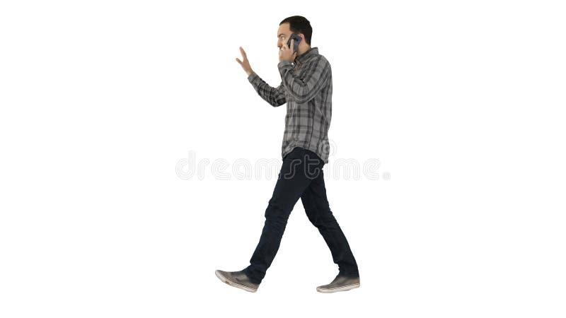 谈话在电话,走和做姿态的人在白色背景 库存图片