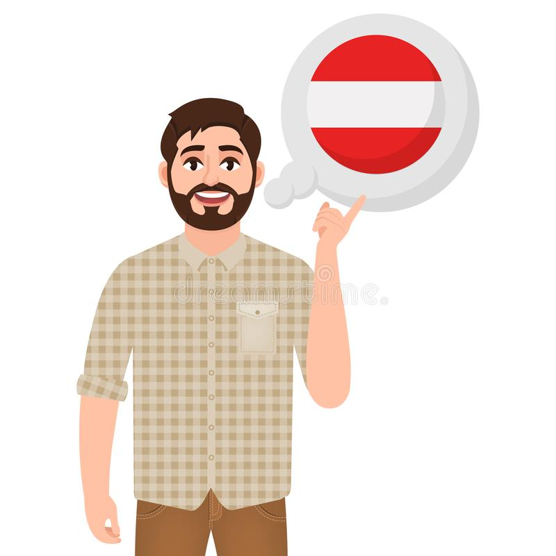 谈话或考虑国家奥地利,欧洲国家象、旅客或者游人的愉快的有胡子的人 向量例证
