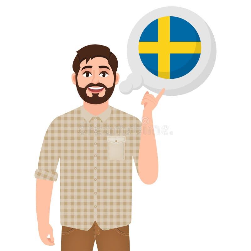 谈话或考虑国家瑞典,欧洲国家象、旅客或者游人的愉快的有胡子的人 向量例证