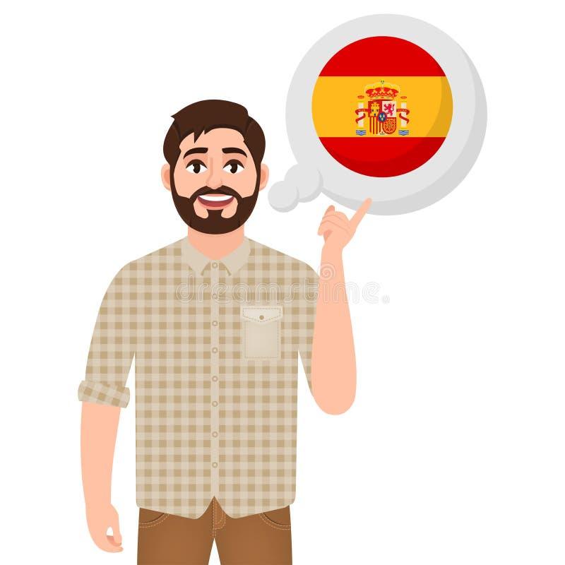 谈话或考虑国家西班牙,欧洲国家象、旅客或者游人的愉快的有胡子的人 库存例证