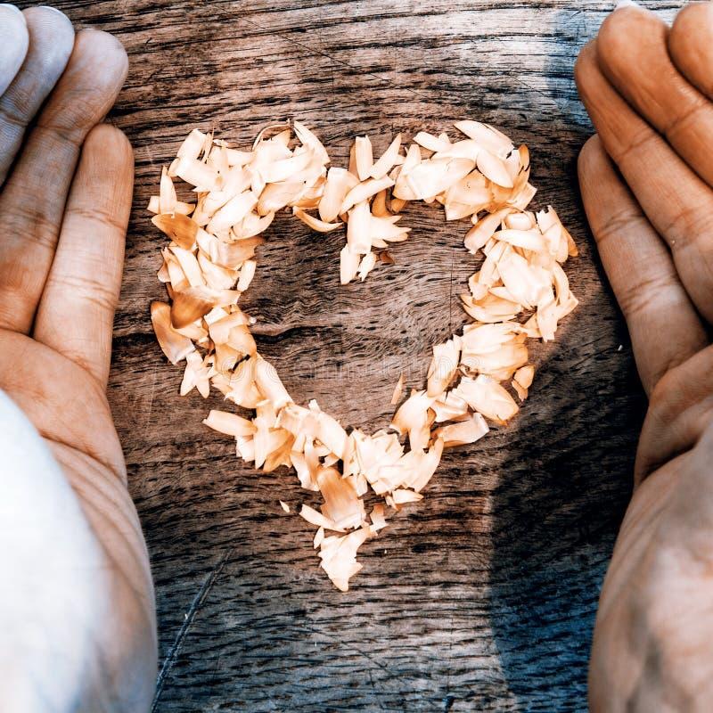 从说谎在一张木桌和手上的瓣的心脏 库存照片