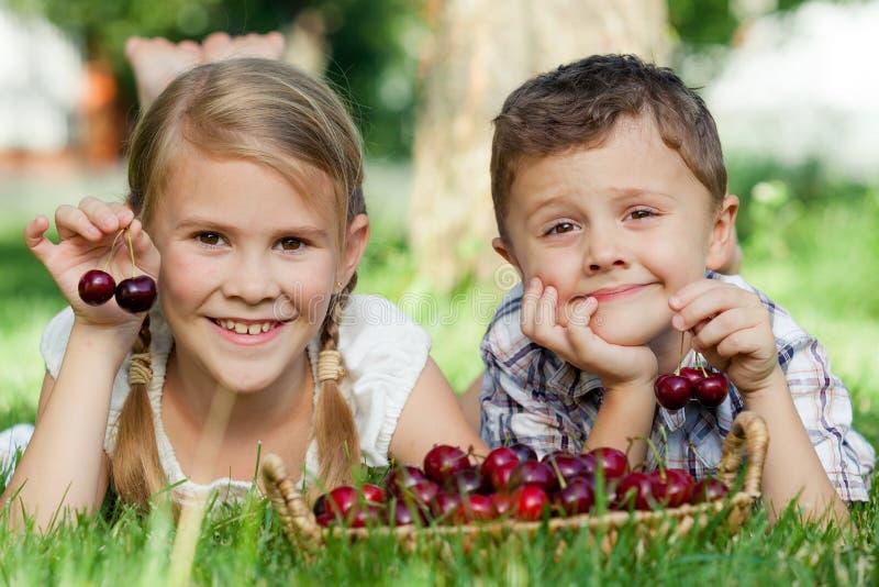 说谎在与cherr篮子的树附近的愉快的小孩  库存照片