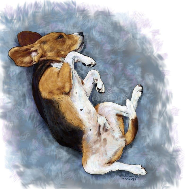 说谎在坐垫的可爱的小猎犬 库存例证