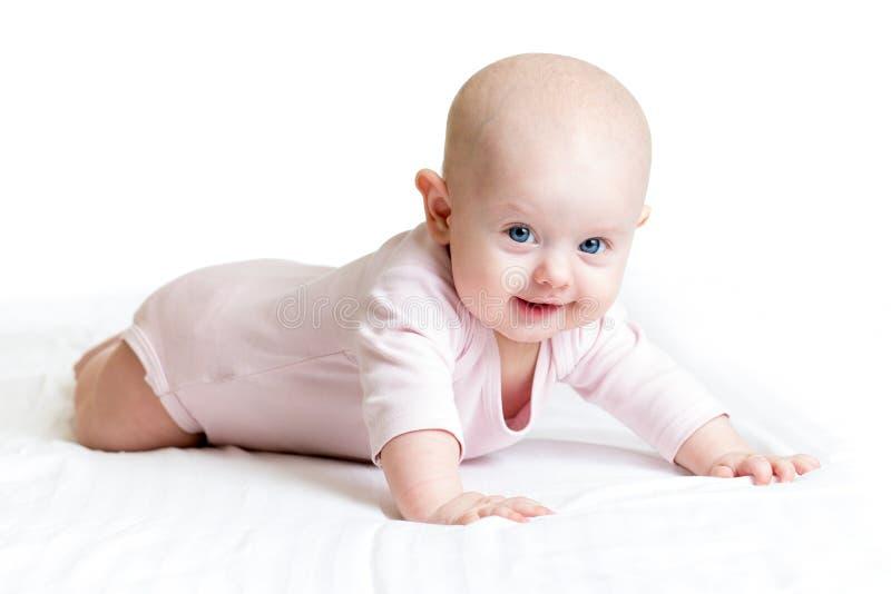 说谎在她的肚子的女婴 图库摄影