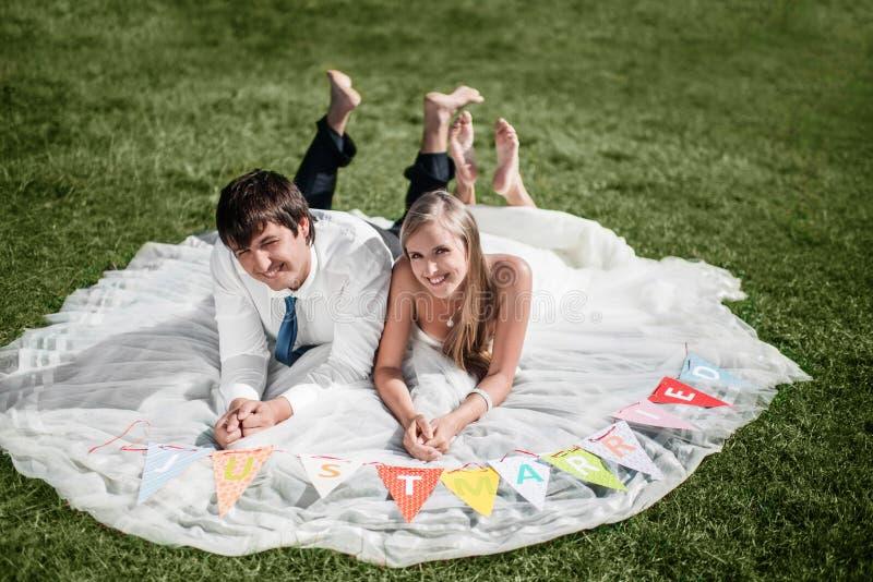 说谎在草的微笑的婚礼夫妇 库存照片
