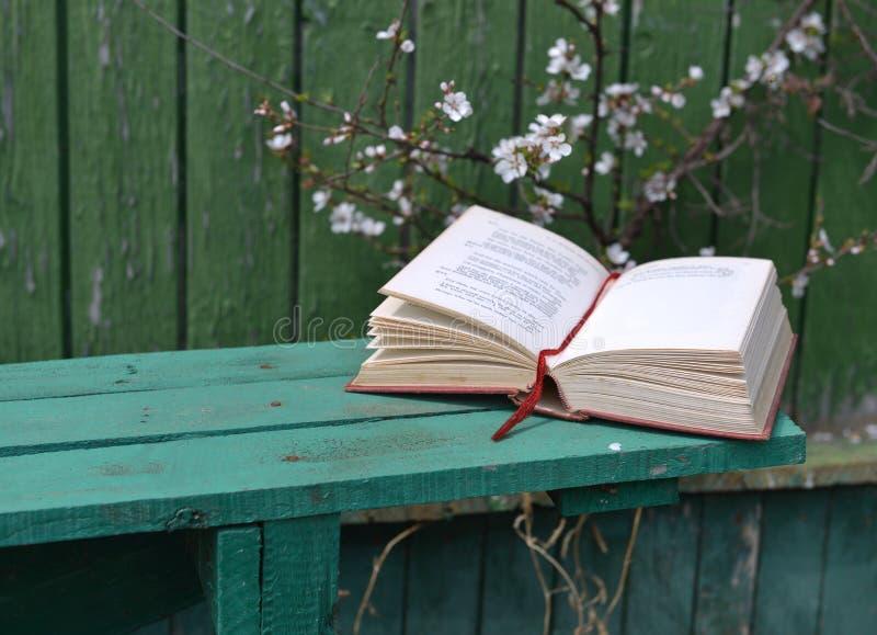 说谎在绿色长凳的诗书在庭院里 免版税库存图片