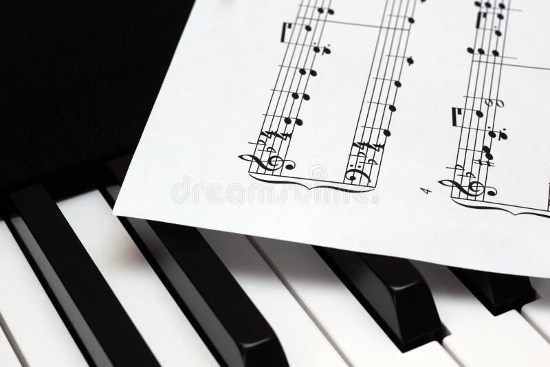 说谎在Th钢琴钥匙的乐谱用纸板料 免版税库存照片