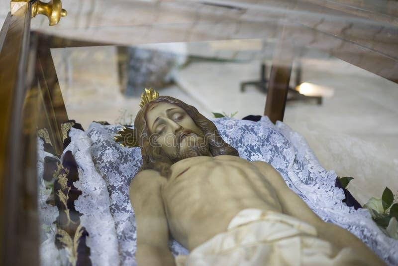 说谎的耶稣基督贞女和稀土的圣周在西班牙,图象 免版税库存图片