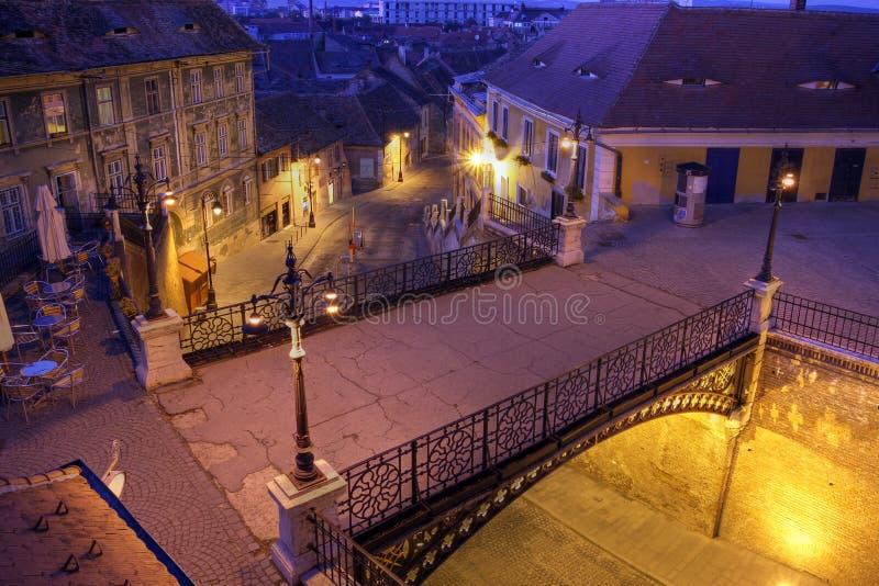 说谎者的桥梁在锡比乌,罗马尼亚 库存照片