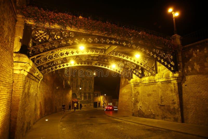 说谎者的桥梁在锡比乌,罗马尼亚 免版税图库摄影