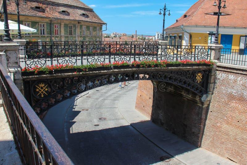 谎言/说谎者的桥梁-锡比乌,罗马尼亚桥梁  免版税库存图片
