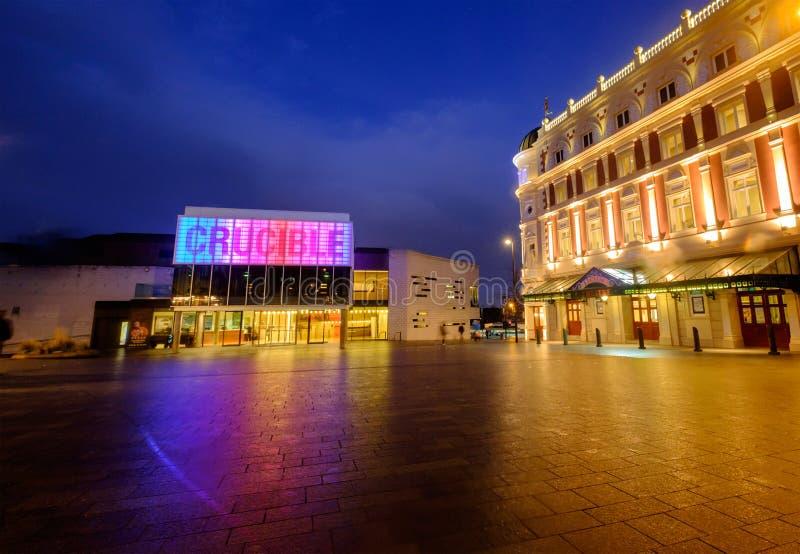 谢菲尔德坩埚剧院和学苑 免版税图库摄影