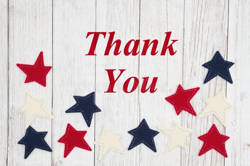 谢谢与爱国红色,白色和蓝星的文本 皇族释放例证