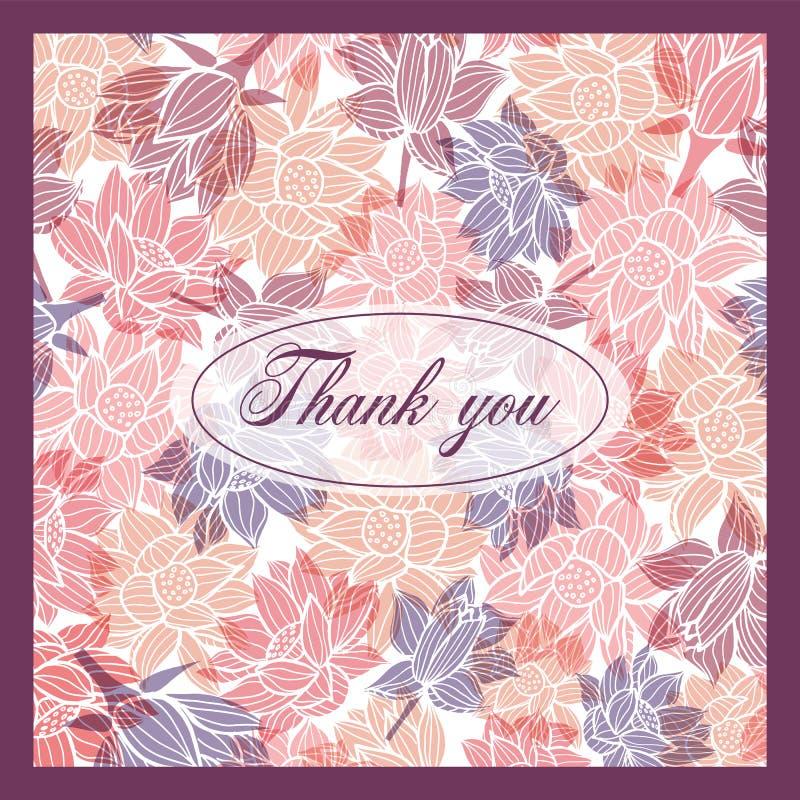 谢谢与现代典雅的花卉样式的卡片模板与微妙的透明躺在的作用 向量例证