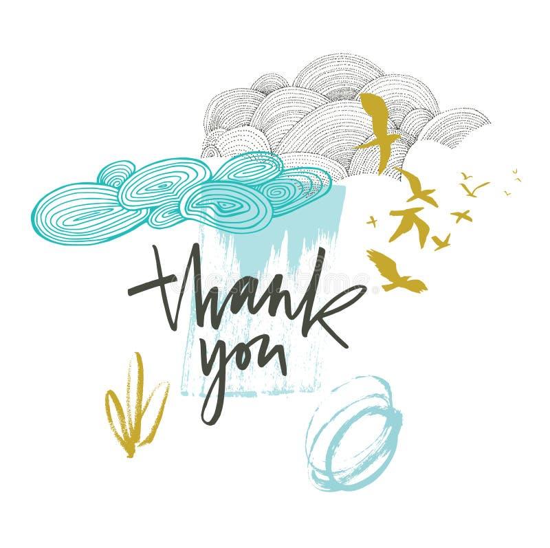 谢谢与美丽的云彩和鸟的卡片在蓝色和芥末颜色 库存例证