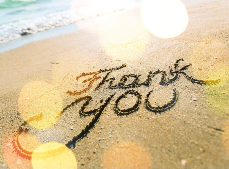 谢谢在含沙海海滩的题字 免版税库存照片