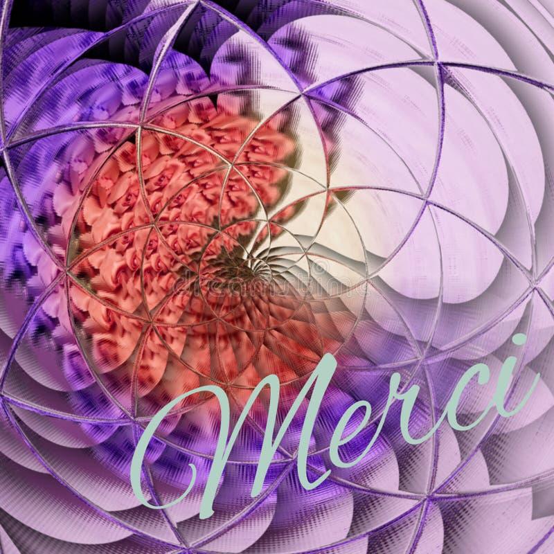 谢谢在花卉紫外背景的法国merci上写字在玫瑰吨 免版税图库摄影