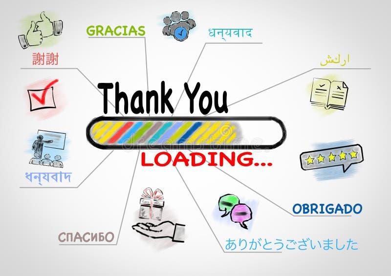 谢谢多数讲话的语言的在世界上 向量例证