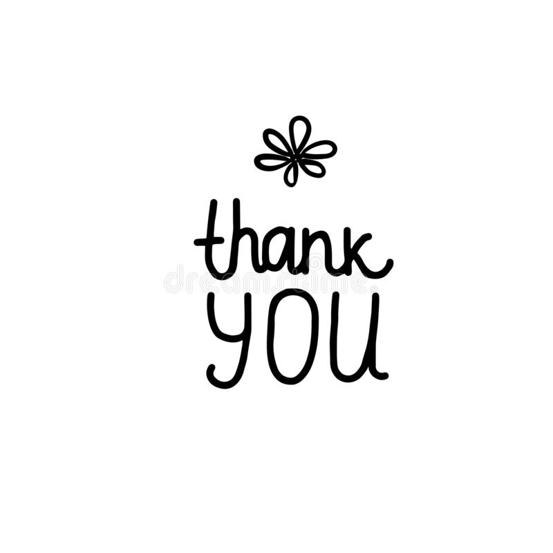 谢谢徒手画在题字上写字的 在白色卡片背景隔绝的黑手拉的传染媒介 库存例证