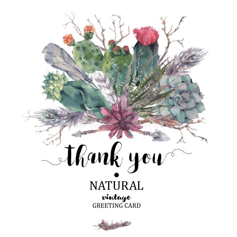 谢谢拟订与分支和多汁植物 库存例证