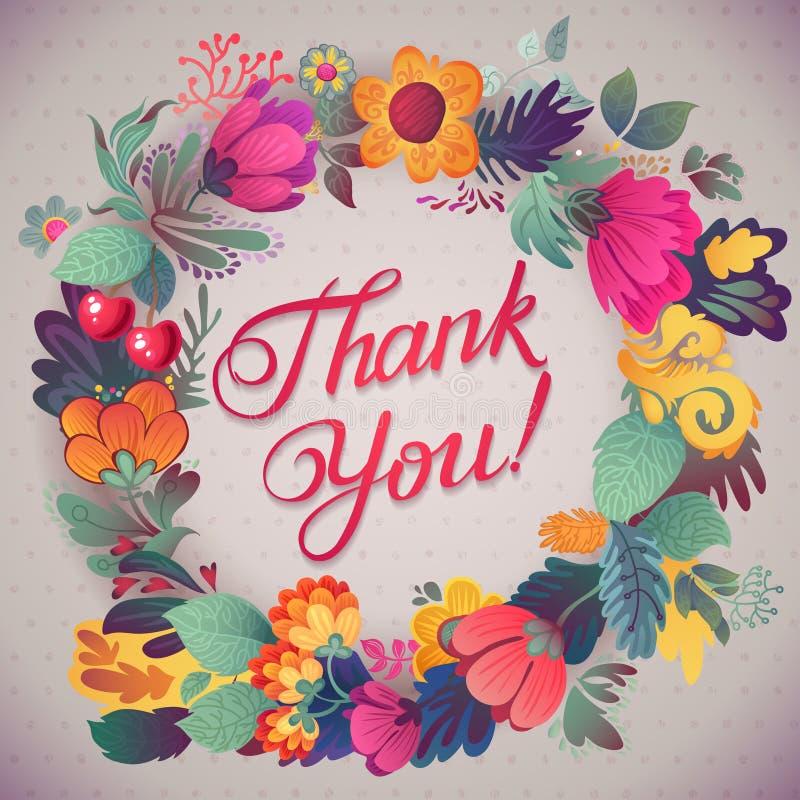 谢谢拟订在明亮的颜色 与文本、莓果、叶子和花的时髦的花卉背景 库存例证