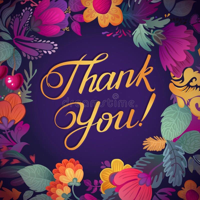 谢谢拟订在明亮的颜色 与文本、莓果、叶子和花的时髦的花卉背景 向量例证
