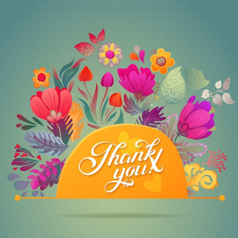 谢谢拟订在明亮的颜色 与文本、莓果、叶子和花的时髦的花卉背景 皇族释放例证