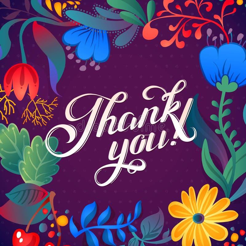 谢谢拟订在明亮的颜色 与文本、莓果、叶子和flowerÂŒ的时髦的花卉背景 库存例证