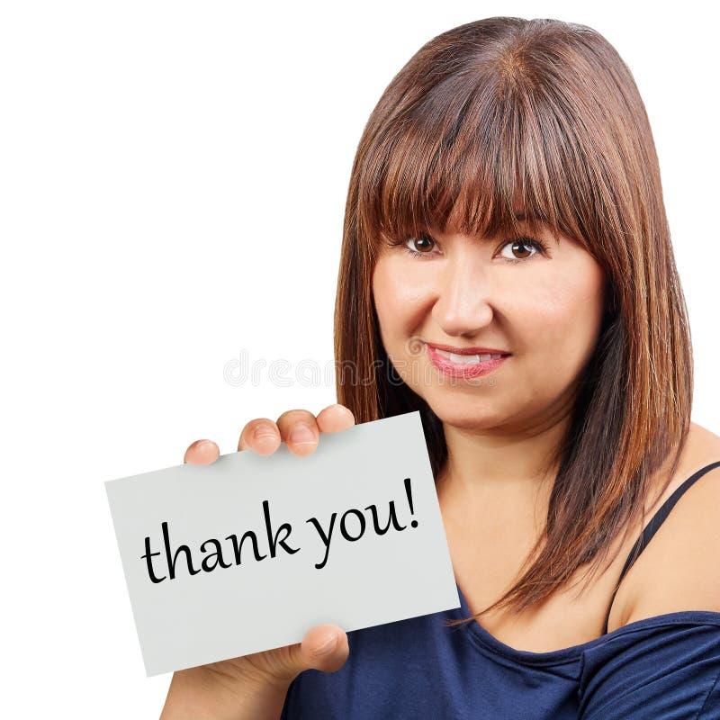 谢谢拟订对负由深色的妇女被隔绝 免版税库存照片