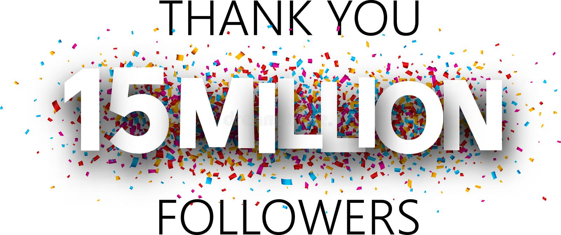 谢谢, 15百万个追随者 与五颜六色的五彩纸屑的横幅 库存例证