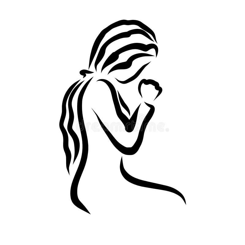 谦逊地祈祷对上帝,宗教的少妇 向量例证
