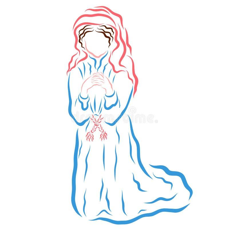 谦逊地祈祷对她的膝盖的上帝,圣母玛丽亚的年轻女人 库存例证